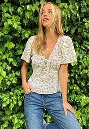 Abercrombie & Fitch tie front woven top in yellow gorunded floral-Multi