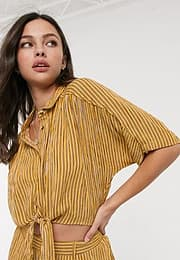 Band of Gypsies Band Of tie front crop shirt-Yellow