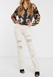 BLANK NYC Ditz distressed boyfriend jeans-White