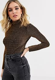BLANK NYC Star Woman glitter thread long sleeved top-Copper