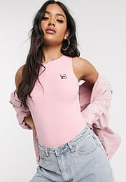 Fila scoop back body with logo-Pink