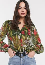 French Connection floreta crinkle printed blouse-Multi