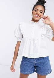 Influence puff sleeve frilled blouse-White