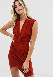 John Zack plunge front ruched mini dress in rust-Red