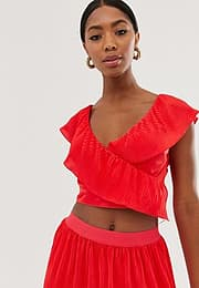 Little Mistress strappy back crop top in poppy red
