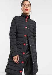 Love Moschino tube quilted longline coat-Black