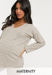 Missguided co-ord v-neck top in beige-Pink