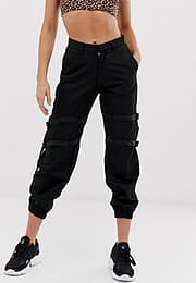 Motel cargo joggers with straps-Black