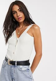 Neon Rose knitted button front cami top-White