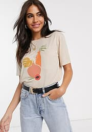 Neon Rose relaxed t-shirt with abstract vase graphic-Beige