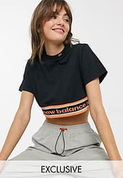 New Balance Utility Pack cropped t-shirt in black exclusive at ASOS