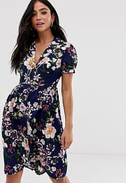 QED London collared midi dress in navy floral