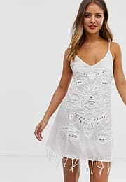 Raga Nomad embellished slip dress-White