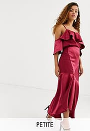 True Decadence asymmetric cami strap top co-ord with ruffle front in raspberry-Pink