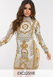 A Star Is Born exclusive high neck embellished mini dress in gold multi