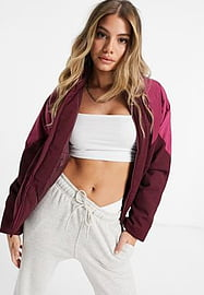adidas Originals short length padded jacket with block colour shoulders in burgundy-Red