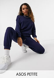 ASOS Petite ASOS DESIGN Petite tracksuit ultimate sweat / jogger with tie in organic cotton in navy