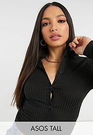 ASOS Tall ASOS DESIGN Tall fitted rib 90s shirt in black