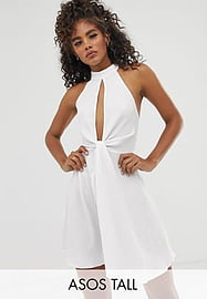 ASOS Tall ASOS DESIGN Tall halter neck plunge mini sundress with twist front in texture-White