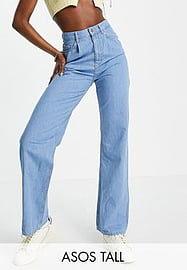 ASOS Tall ASOS DESIGN Tall high rise 'relaxed' dad jeans with pleat fronts in midwash-Blue