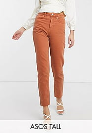 ASOS Tall ASOS DESIGN Tall Ritson original mom jean in rust with raw hem detail-Red