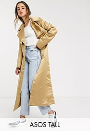 ASOS Tall ASOS DESIGN Tall strong shoulder trench coat in stone-Neutral