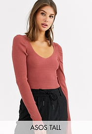 ASOS Tall ASOS DESIGN Tall v neck bodysuit with ruched sleeve-Brown