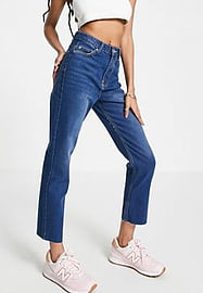 Brave Soul fran straight mom jeans in mid blue
