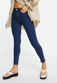 Brave Soul lucy skinny jeans in mid blue