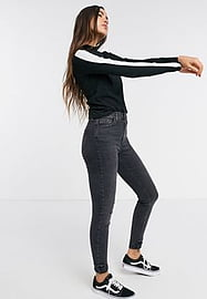 Brave Soul paxtor high neck long sleeve top with sleeve stripe-Black