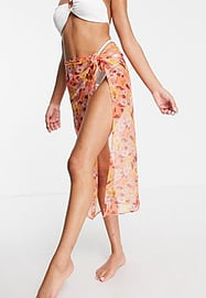 Brave Soul sarong in retro floral-Brown