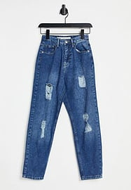 Brave Soul stace straight mom jeans with rips-Blue