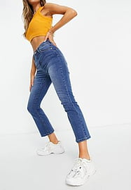 Brave Soul stella straight mom jeans with rips-Blue