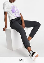 Brave Soul Tall krista high waisted joggers-Grey