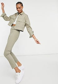 Dr Denim Nora Straight Leg Jeans Co-ord in Sage-Green