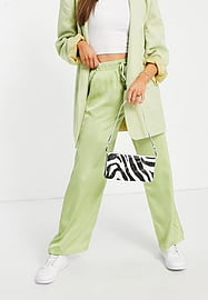 Fashion Union relaxed wide leg trousers in lime satin co-ord-Green