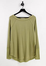 Free People Snowy jersey thermal top in green