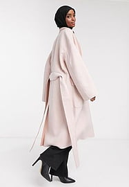 French Connection Daralice belted wool coat in cream-White