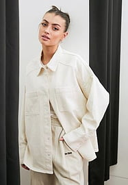 French Connection denim shacket co-ord in cream-White