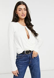 French Connection draping wrapped long sleeve top in cream-White