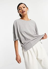 French Connection organic cotton boxy t-shirt in light grey