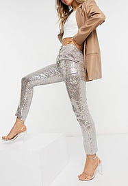 French Connection sequin trouser in rose gold