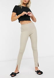 French Connection Sonya Street Twill Skinny Front Split Trouser in Grey
