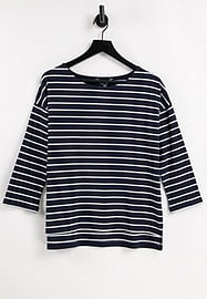 French Connection striped jersey top in blue & white