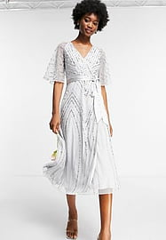 Frock And Frill Bridesmaids embellished midi dress in dove grey