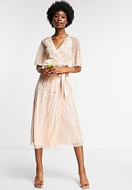 Frock And Frill Bridesmaids embellished midi dress in pearl pink