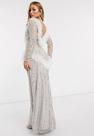 Frock And Frill Club faux feather maxi gown with embellishment in white