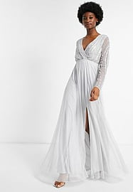 Frock And Frill wrap front embellished maxi dress in dove grey