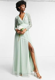 Frock And Frill wrap front embellished maxi dress in sage green