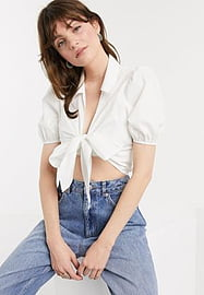 Glamorous crop shirt with tie front in cotton-White